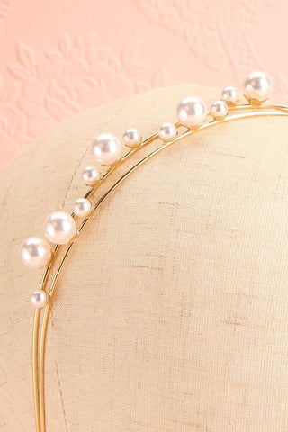 Adoracion Golden Headband with Pearl Ornamentation close-up | Boudoir 1861