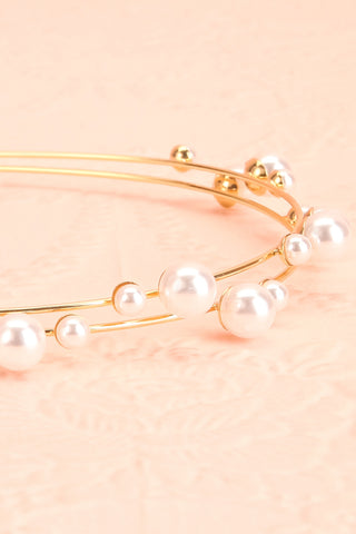 Adoracion Golden Headband with Pearl Ornamentation flat close-up | Boudoir 1861