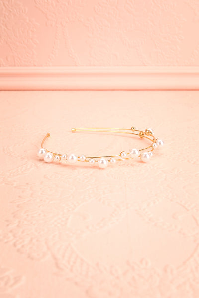 Adoracion Golden Headband with Pearl Ornamentation flat view | Boudoir 1861