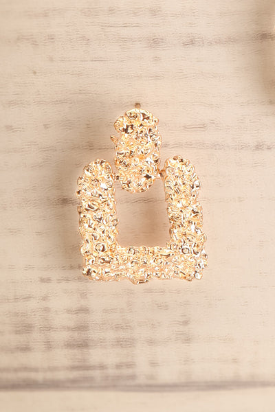 Adoria Or Gold Textured Square Pendant Earrings close-up | La Petite Garçonne