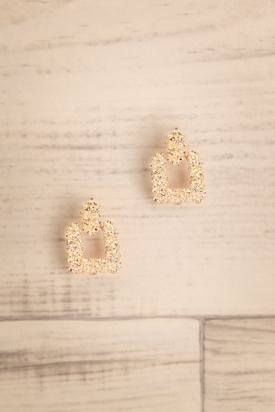 Adoria Or Gold Textured Square Pendant Earrings | La Petite Garçonne
