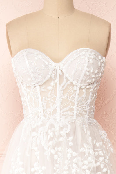 Adrasthee Bustier Tulle Wedding Dress w/ Slit | Boudoir 1861 front close-up