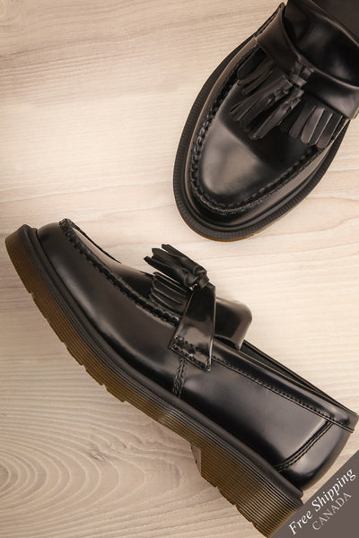 Adrian Black Leather Dr. Martens Loafers flat lay | La Petite Garçonne Chpt. 2