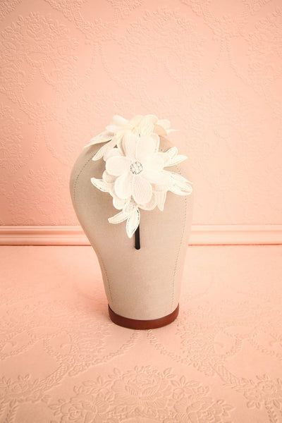 Aechméa - White mesh and embroideries Ophelie Hats headband 3