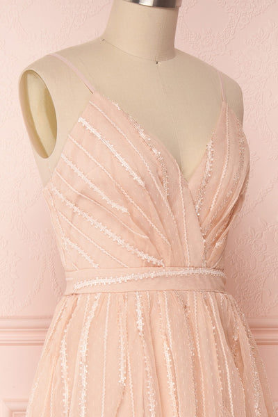 Aegis Lychee Pink Striped Mesh A-Line Gown | Boutique 1861 4