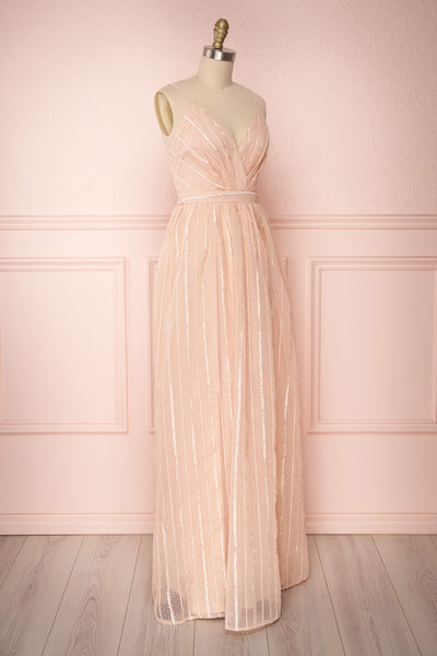 Aegis Lychee Pink Striped Mesh A-Line Gown | Boutique 1861 3