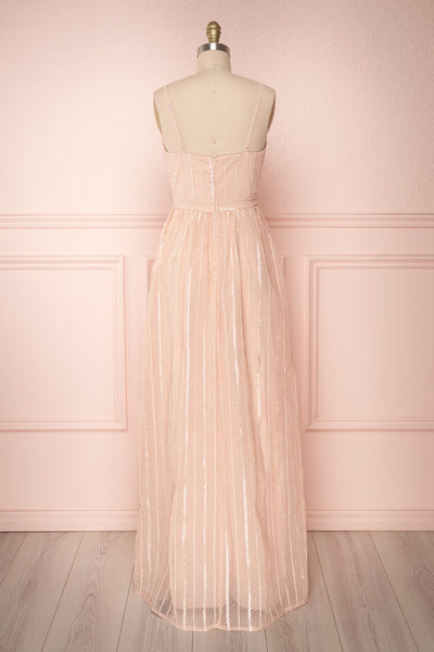 Aegis Lychee Pink Striped Mesh A-Line Gown | Boutique 1861 5