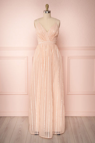 Aegis Lychee Pink Striped Mesh A-Line Gown | Boutique 1861