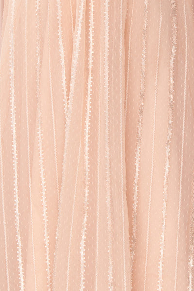 Aegis Lychee Pink Striped Mesh A-Line Gown | Boutique 1861 8