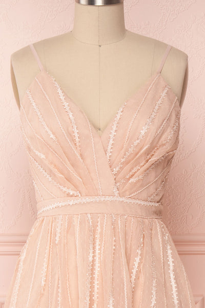 Aegis Lychee Pink Striped Mesh A-Line Gown | Boutique 1861 2