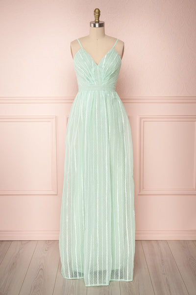 Aegis Mint Green Striped Mesh A-Line Gown | Boutique 1861