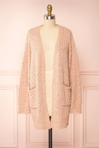 Aegle Blush Pink Long Fuzzy Knitted Cardigan | Boutique 1861 front view