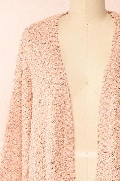 Aegle Blush Pink Long Fuzzy Knitted Cardigan | Boutique 1861 front close-up