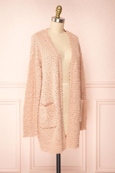Aegle Blush Pink Long Fuzzy Knitted Cardigan | Boutique 1861 side view