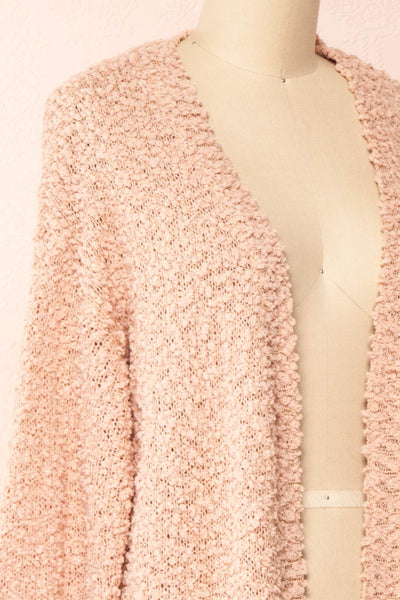 Aegle Blush Pink Long Fuzzy Knitted Cardigan | Boutique 1861 side close-up