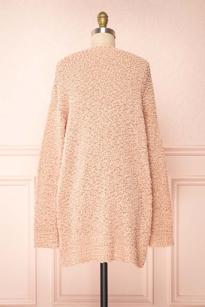 Aegle Blush Pink Long Fuzzy Knitted Cardigan | Boutique 1861 back view