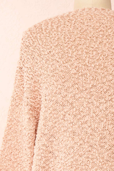 Aegle Blush Pink Long Fuzzy Knitted Cardigan | Boutique 1861 back close-up