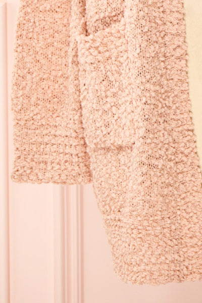 Aegle Blush Pink Long Fuzzy Knitted Cardigan | Boutique 1861 bottom