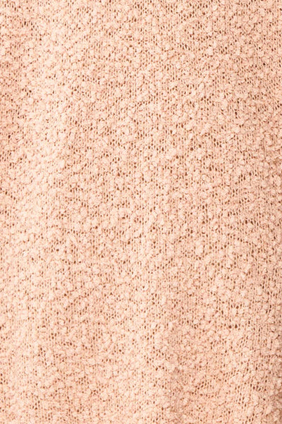 Aegle Blush Pink Long Fuzzy Knitted Cardigan | Boutique 1861 fabric