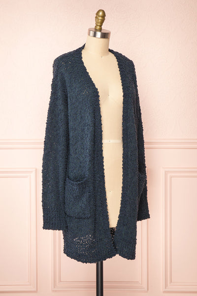 Aegle Forest Long Fuzzy Knitted Cardigan | Boutique 1861 side view