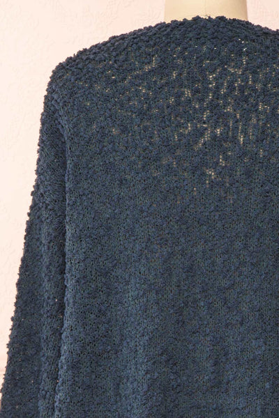 Aegle Forest Long Fuzzy Knitted Cardigan | Boutique 1861 back close-up