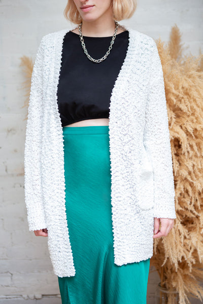 Aegle Forest Long Fuzzy Knitted Cardigan | Boutique 1861 white
