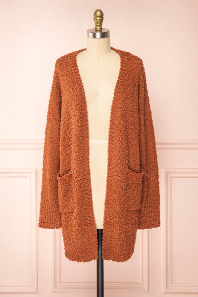 Aegle Rust Long Fuzzy Knitted Cardigan | Boutique 1861 front view
