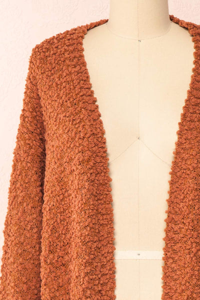 Aegle Rust Long Fuzzy Knitted Cardigan | Boutique 1861 front close-up