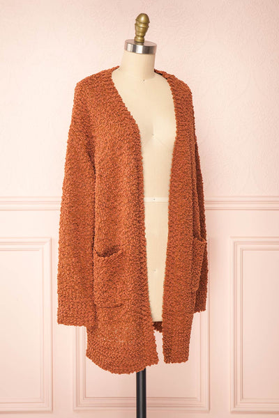 Aegle Rust Long Fuzzy Knitted Cardigan | Boutique 1861 side view
