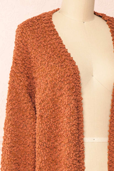 Aegle Rust Long Fuzzy Knitted Cardigan | Boutique 1861 side close-up