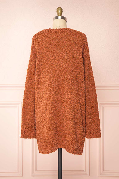 Aegle Rust Long Fuzzy Knitted Cardigan | Boutique 1861 back view