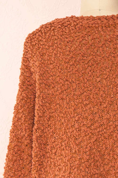 Aegle Rust Long Fuzzy Knitted Cardigan | Boutique 1861 back close-up