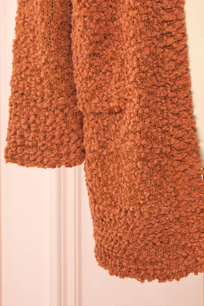 Aegle Rust Long Fuzzy Knitted Cardigan | Boutique 1861 bottom