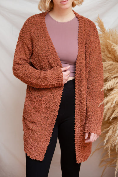 Aegle Rust Long Fuzzy Knitted Cardigan | Boutique 1861 model