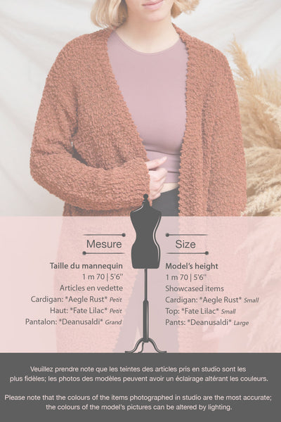 Aegle Blush Pink Long Fuzzy Knitted Cardigan | Boutique 1861 fiche