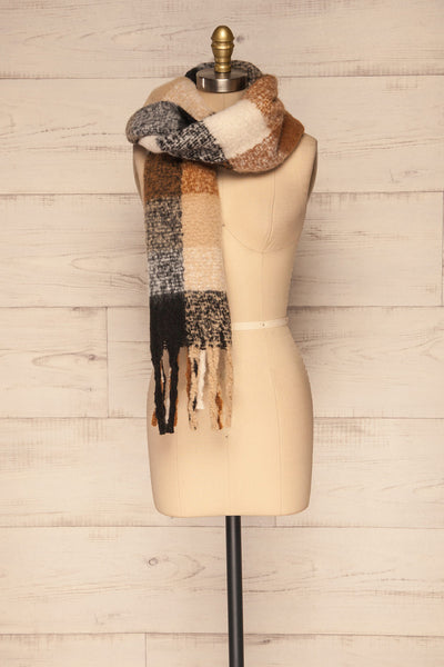 Aelwen Black & Beige Large Checkered Fuzzy Scarf over shoulder | La Petite Garçonne