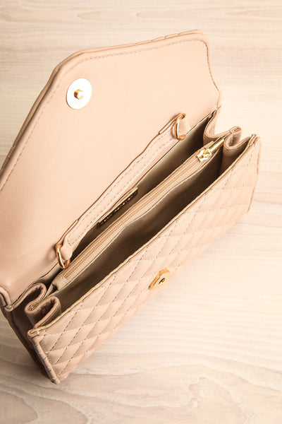 Affatim Beige Quilted Crossbody Clutch Bag | La Petite Garçonne 7