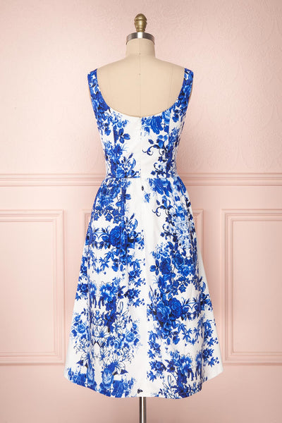 Agalia White & Blue Floral A-Line Cocktail Dress | Boutique 1861 5