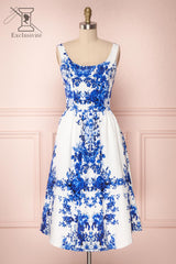 Agalia White & Blue Floral A-Line Cocktail Dress | Boutique 1861 1
