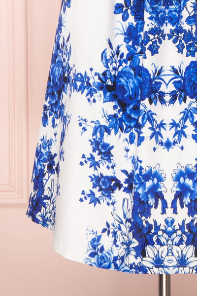 Agalia White & Blue Floral A-Line Cocktail Dress | Boutique 1861 7
