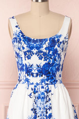 Agalia White & Blue Floral A-Line Cocktail Dress | Boutique 1861 2