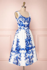 Agalia White & Blue Floral A-Line Cocktail Dress | Boutique 1861 3
