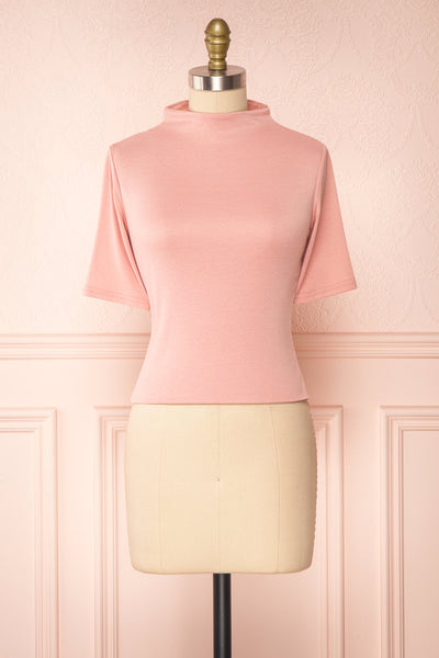 Agnees Pink Mock Neck Crop T-Shirt | Boutique 1861 front view