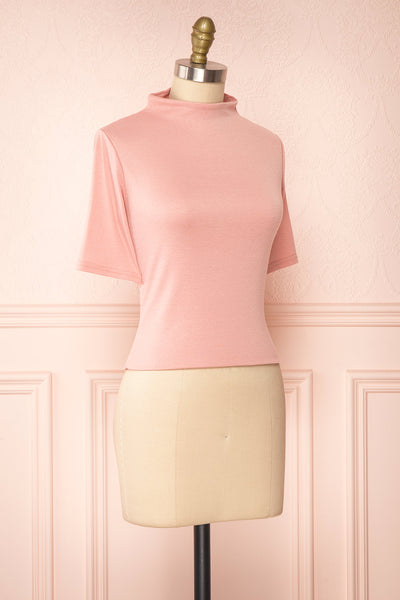 Agnees Pink Mock Neck Crop T-Shirt | Boutique 1861 side view