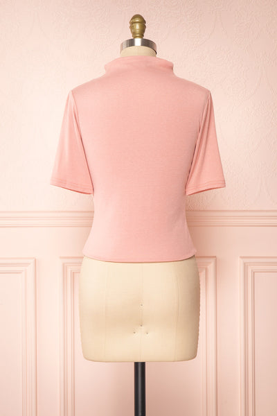 Agnees Pink Mock Neck Crop T-Shirt | Boutique 1861 back view