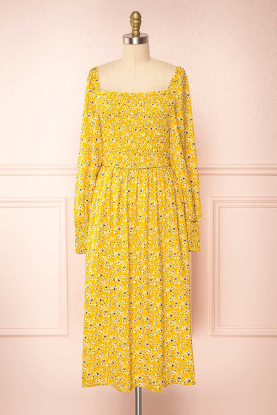 Aimee Yellow Square Neck Floral Midi Dress | Boutique 1861 front view