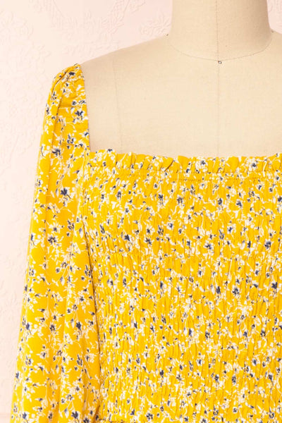 Aimee Yellow Square Neck Floral Midi Dress | Boutique 1861 front close-up