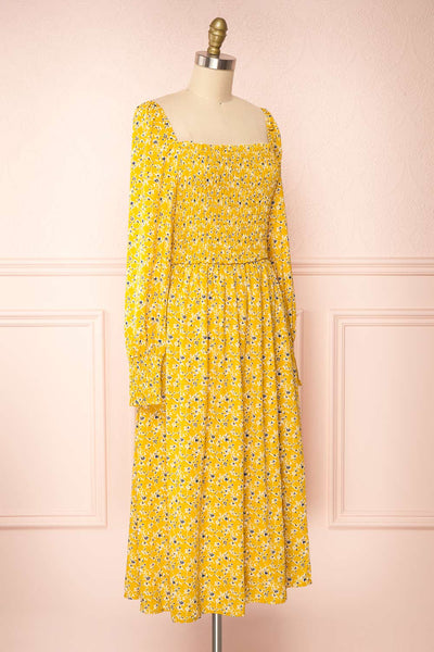 Aimee Yellow Square Neck Floral Midi Dress | Boutique 1861 side view