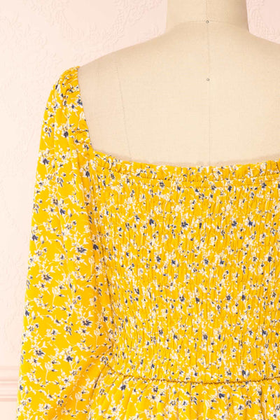 Aimee Yellow Square Neck Floral Midi Dress | Boutique 1861 back close-up