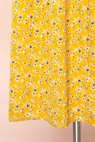 Aimee Yellow Square Neck Floral Midi Dress | Boutique 1861 bottom